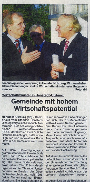 Titan Praecis - Zeitungsartikel Wirtschaftsminister Austermann